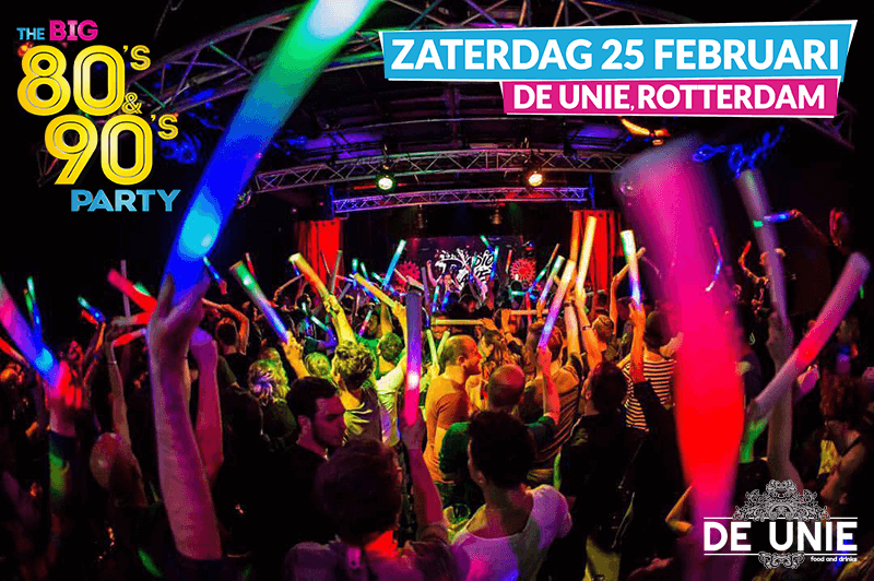 The BIG 80's & 90's Party bij de UNIE Rottredam 25 februari 2017
